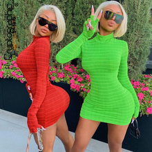 Cryptographic 2019 Turtleneck Fashion Plaid Mini Dresses Bodycon Dress Women Casual Slim Long Sleeve Autumn Sexy Winter