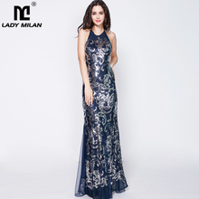 Womens Party Prom Sexy Off Spaghetti Straps Sequined Open Back Elegant Long Designer Dresses