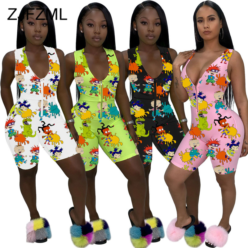 Cartoon Character Print Rompers Womens Jumpsuit Summer Clothes Zipper Up One Piece Club Outfit Deep V Neck Sleeveless Playsuits