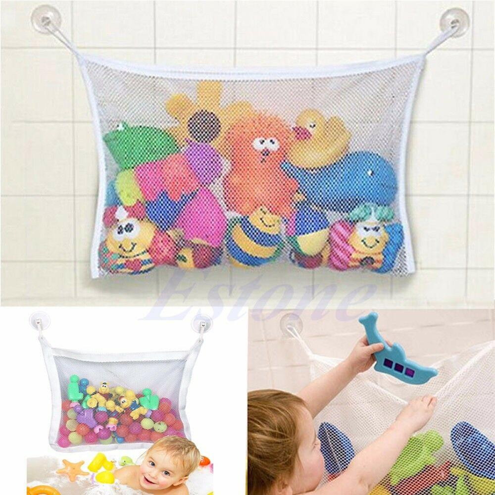 Baby Bath Time Cute Toy Tidy Storage Suction Cup Bag Mesh Bathroom Organiser Net