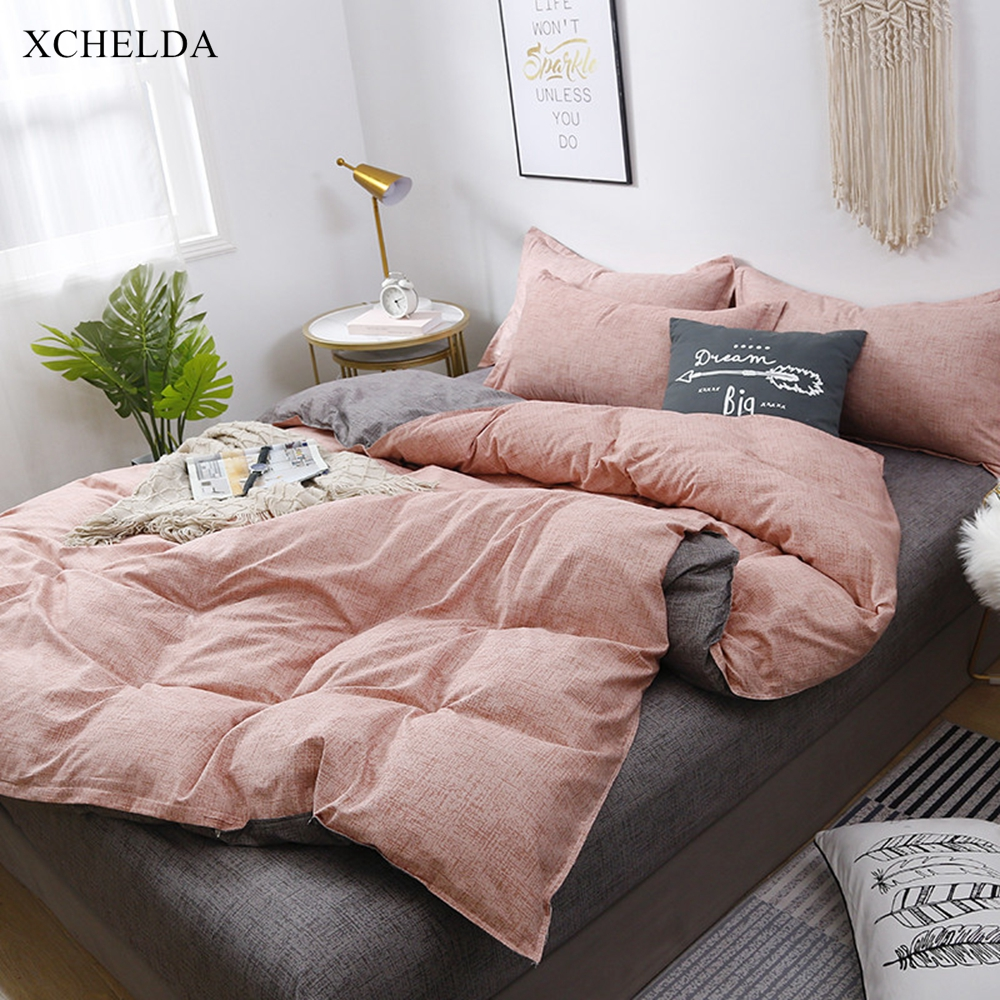 Luxury Pink Bedding Set Couple Queen King Size Comforter Duvet Cover Bed Sheet Set Solid Grey Cotton Adult Linens Home Textile