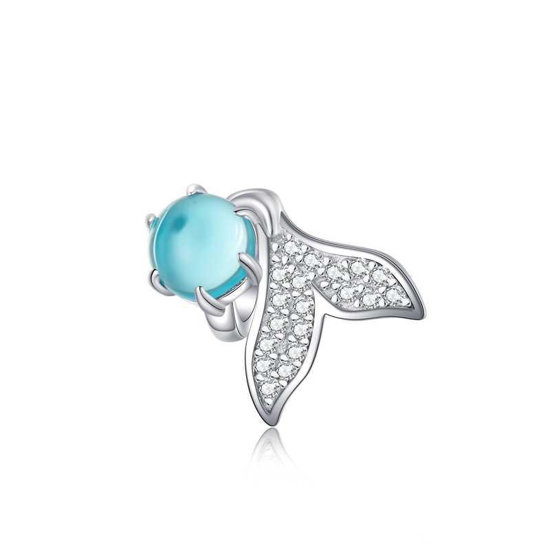 Hot Dijual 100% Nyata 925 Sterling Silver Mermaid Ikan CZ Pesona Manik-manik Fit Asli Pandora Gelang Liontin DIY Membuat Perhiasan