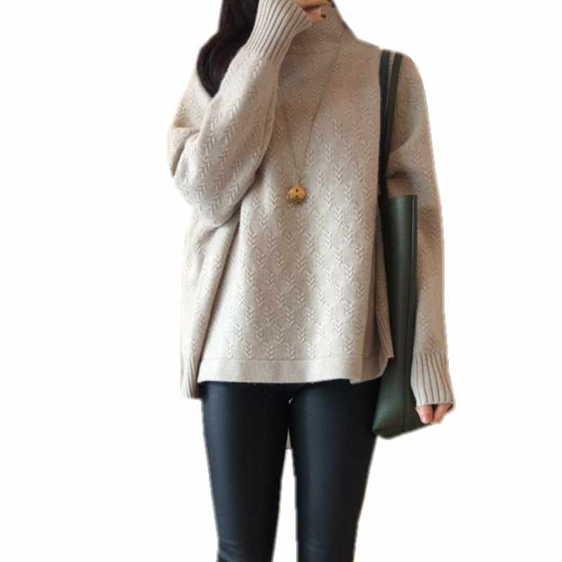 turtleneck cashmere sweater women's thickening lazy loose pullover autumn winter new twist knitted jacket female tops
