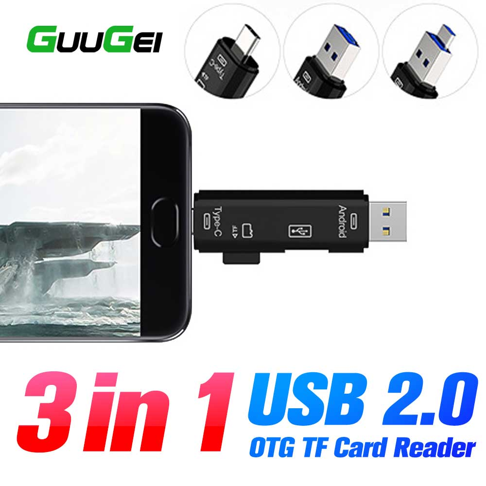 GUUGEI 3 In 1 Usb Card Reader High Speed SD TF Micro SD Card Reader To Type C Mobile Phone Memory OTG Adapter USB Cardreader PC