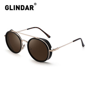 Image 5 - Retro Teampunk Round Sunglasses for Women Men Double Bridge Metal Frame Sun Glasses