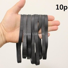 10pcs Wide 10mm Big Size Black Elastic Rubber Band Heavy Duty Strong Large Tie
