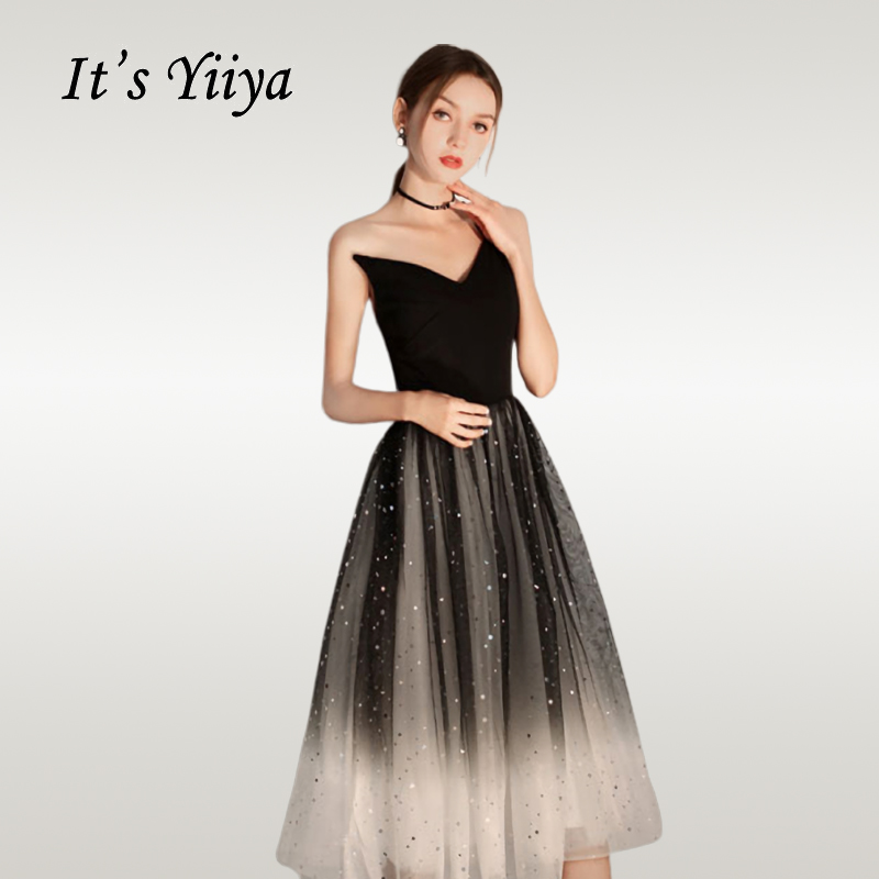 It's Yiiya   Cocktail     Dress   Gradient Black Shining Strapless Woman Party   Dresses   Elegant One Shoulder Robe   Cocktail   Gowns E707