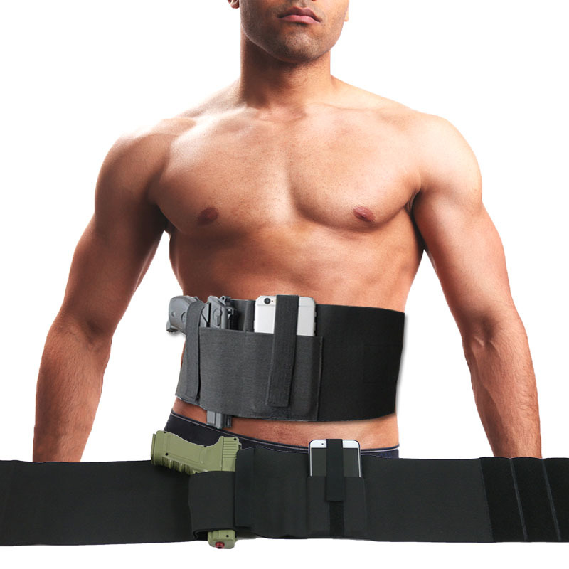 Combo de bandas abdominales tácticas para mano derecha/izquierda, pistolera para Glock Serie 17, 19, 22, con funda cartuchera para revistas