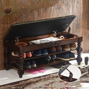 Taburete para zapatos totalmente de madera maciza de los Estados Unidos, mueble de prueba para zapatos, taburete europeo para almacenamiento de zapatos, taburete para puerta, taburete de almacenamiento para zapatos