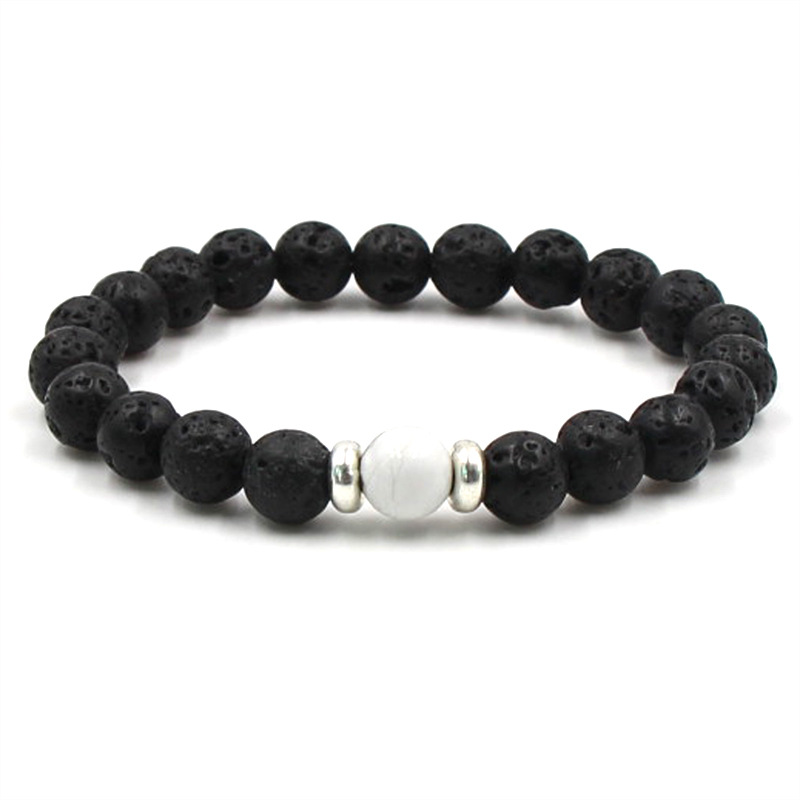 8mm Natural Black Volcanic Lava Stone Beads distance Bracelet for Women&Men fashion DIY Jewelry Classic charm accessories