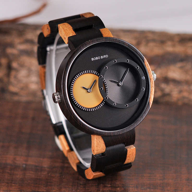 BOBO BIRD Luxury Loves Watch relogio feminino Special Color Combination Wood Watches Minimalist Design Two Time Zone Idea Gifts