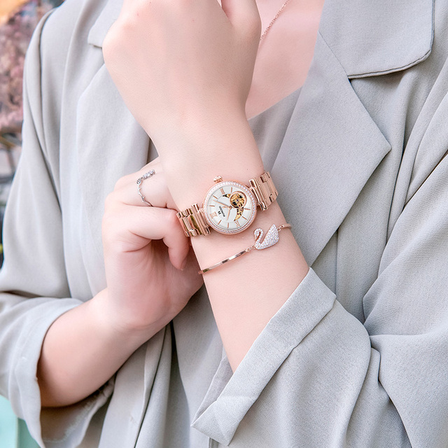 RUNOSD Rose gold ladies watch skeleton sun and moon mechanical movement ceramic bracelet sapphire Stylish and elegant 8325L 4