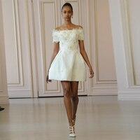 Verngo Simple Evening Dress Short Formal Dress Party Gown Ivory Prom Dresses Valentine's Day Flowers Gowns Vestido De Festa
