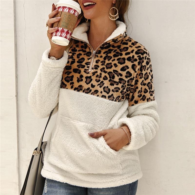 2019 Winter Fleece Sweater Fashion Leopard Patchwork Fluffy Thick Sweaters Warm Zipper Pullovers Women Winter Coat Sherpa Tops