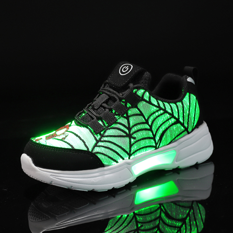 UncleJerry Child Fiber Optic Shoes For Girls Boys Rechargeable Light Up Shoes Children Glowing Sneaker Spiderman Cartoon Shoes