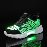 UncleJerry Kind Fiber Optic Schuhe für mädchen jungen Wiederaufladbare licht up schuhe Kinder Glowing Sneaker Spiderman Cartoon Schuhe-in Turnschuhe aus Mutter und Kind bei
