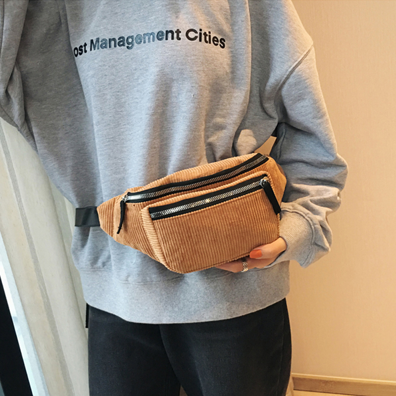 Women Corduroy Waist Bag Ladies Designer Canvas Fanny Pack Fashion Brown Money Phone Chest Banana Bag Female Bum Belt Bags Phone