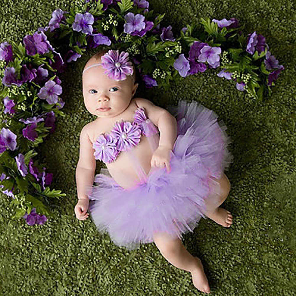 3pc Newborn Baby Photography Sets Tutu Skirt Headband Wrap Chest Baby Girl Headbands Accessories Photography Outfits Set Costume