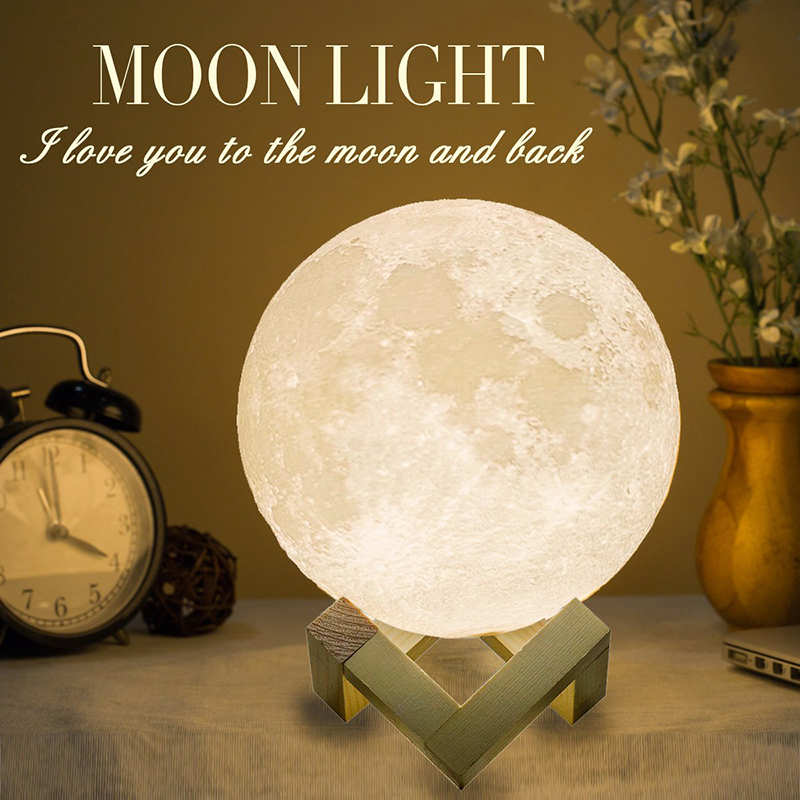 ZK20 LED Night Light 3D Print Moon Lamp Rechargeable Color Change 3D Light Touch Moon Lamp Children's Night Light Romantic