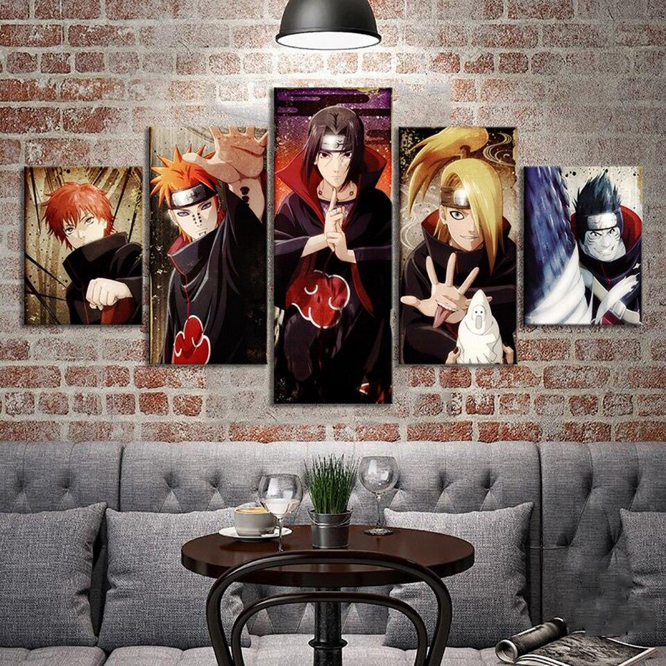 5 шт. холст Художественная печать живопись модульные фотографии героя аниме «Наруто аниме плакат наклейки на стену домашний декор современ...
