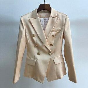 Image 3 - Hoge Kwaliteit 2020 Nieuwste Designer Blazer Vrouwen Dubbele Breasted Leeuw Knoppen Satijn Blazer Jacket Champagne