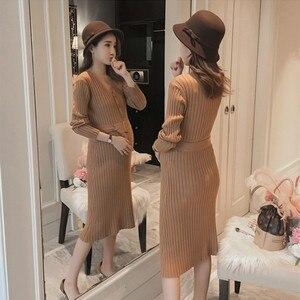 Одежда для беременных зимнее платье свитер для беременных с поясом стрейч тонкий v-образный вырез для кормления грудью трикотажное теплое д...