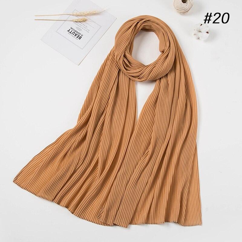 New Big Size 85 180cm Women Crumple Bubble Chiffon Scarf Solid Crinkled Shawls Pleated Headband Hijab