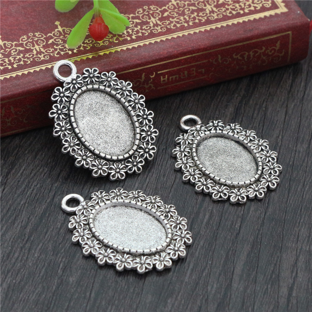 6pcs 13x18mm Inner Size Antique Silver Plated Simple Style Cameo Cabochon Base Setting Charms Pendant Necklace Findings  (D4-34)