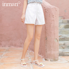 INMAN 2020 Summer New Arrival Concise Style All-match High Waist Buttons Hongkong Style Shorts