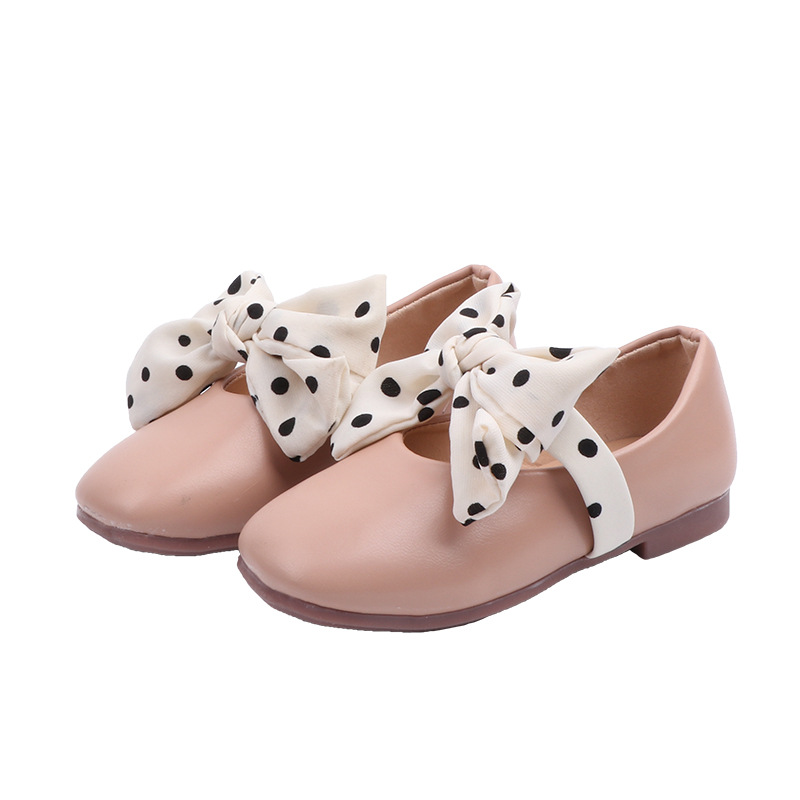 White Pink Black Baby Girls Shoes Kids Soft bottom dot bow Princess Shoes Girls Single shoes Childrens chaussure fille 2 3 4-14T