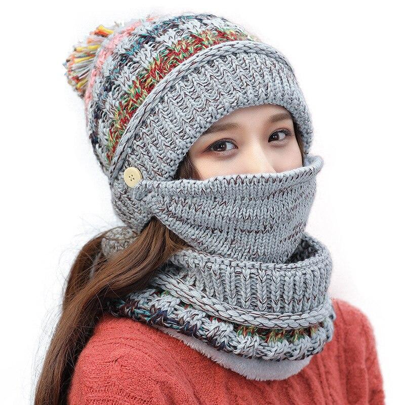 Autumn Winter New Plus Velvet Knit Hat Bib Mask Three-piece Riding Face Thickening Wool Hat Female Winter Accessories