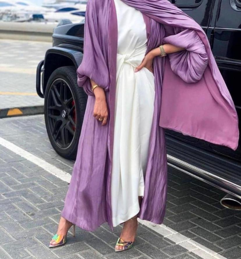 Robe Hijab Musulmane Eid Abaya dubaï, manches bulle, robes turques d'été, Abayas pour femmes, vêtements islamiques, Kimono Femme Musulmane 3