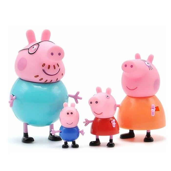 Оригинальные куклы Peppa Pig, Джордж, 25 шт., набор, фигурки из аниме, игрушки из мультфильма, семейные друзья, Свинка Пеппа, вечерние игрушки для детей, подарок на день рождения, Рождество - Цвет: 4 Pcs