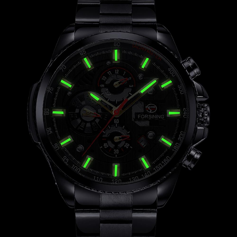 Forsining Three Dial Calendar Stainless Steel Men Mechanical Automatic Wrist Watches Top Brand Luxury Military Sport Forsining Three Dial Calendar Stainless Steel Men Mechanical Automatic Wrist Watches Top Brand Luxury Military Sport Male Clock