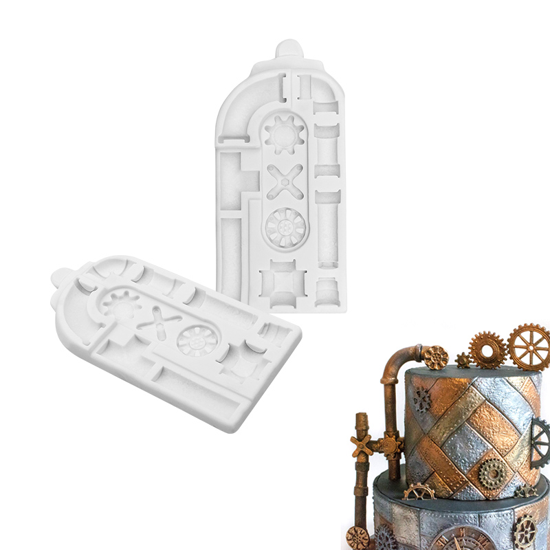 Steampunk Rusty Pipes Silicone Mould Fondant Cake Decorating Tools Baking Molds Cupcake Topper Bakeware Accessories