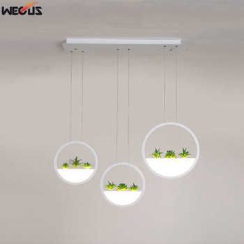 (WECUS) Nordic restaurant pendant lights, creative bar pendant ligh, simple modern simulation plant decoration coffee shop lamps