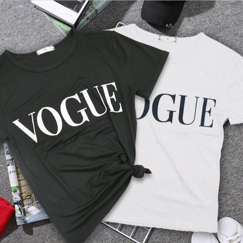 2020 New Women T-Shirts Summer Fashion VOGUE O-Neck T Shirt Female  Shirt Tee Tops Casual Woman T-shirts Plus Size