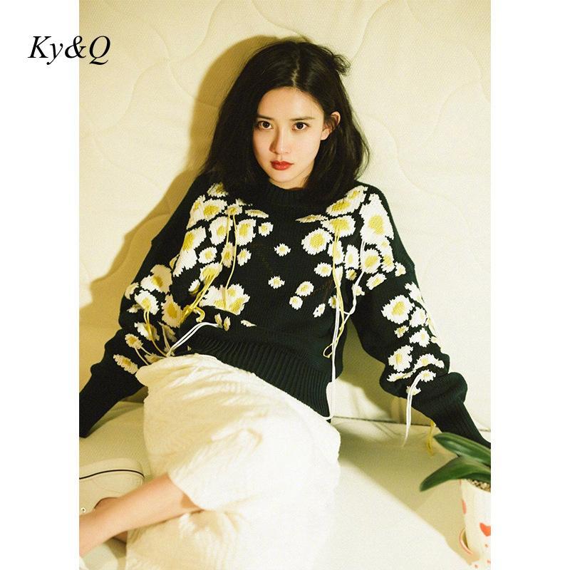 Design da marca 2020 primavera nova mulher do vintage flor doce preto pulôver bordado tassel lã malha camisola superior outwear roupas