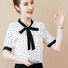 shintimes Chiffon Ladies Blouses 2020 Summer Lace up Bow Womens Shirts Short Sleeve Woman Tops Fashion Polka Dot Elegant Blouse