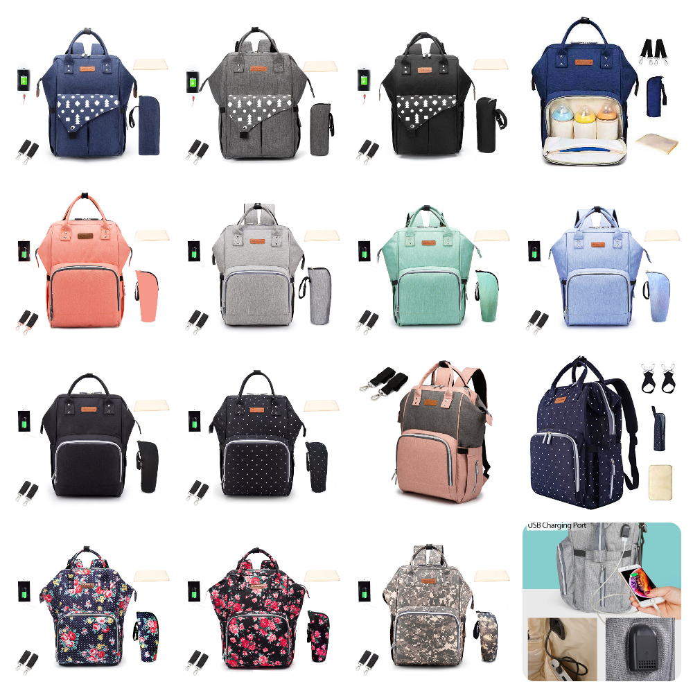 15 Colors USB Charging Ergonomic Diaper Bag Multi-function Stroller Bag Large Capacity Nappy Bag Waterproof Travel Backpack Baby