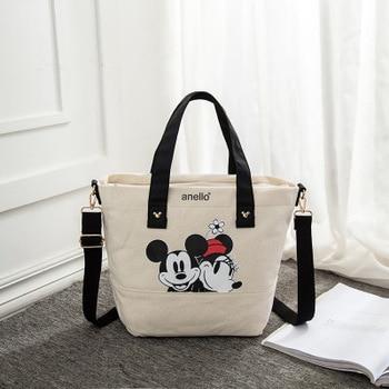 Disney Mickey Mouse Lady Canvas Crossbody Shoulder Bag Cartoon Fashion Minnie Handbag Large Capacity Shopping + Book Bag