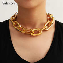 Salircon Punk Cuban Chain Chunky Choker Necklaces Hip Hop Thick Gold Color Clavicle Chain Short Necklace For Women Men Jewelry buckle necklaces for women 2020 jewelry punk thick chain clavicle chains necklace metal couple hip hop gold color necklace