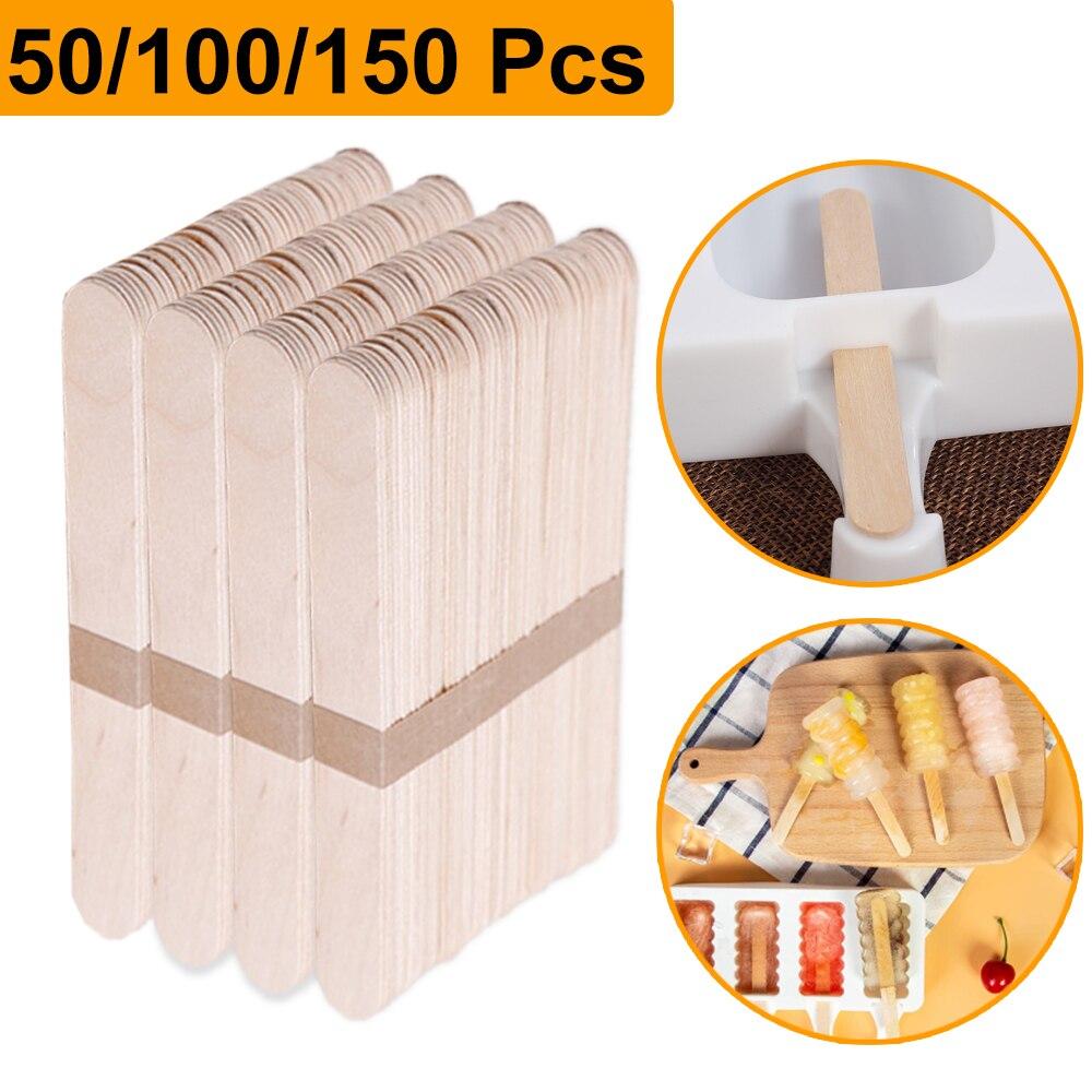 50/100/150 шт/набор деревянные для мороженого палочки для фруктового мороженного палочки из натурального дерева, поп-эскимо деревянная палка в ...