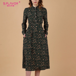 Image 5 - S.FLAVOR Women Long Sleeve Print Shirt Dress Elegant Turn down Collar Casual Autumn Winter Dresses 2020 Slim Midi Party Vestidos
