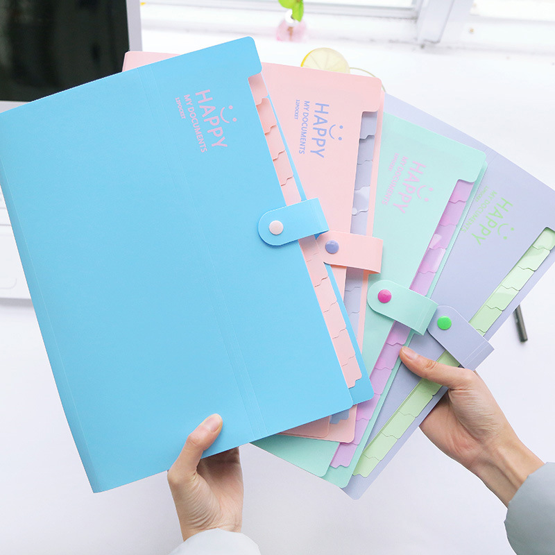 1PCS Korean 12-in Folder PP Organ Storage Bag Document Sorting Bag Test Paper Dividing Bag Multi-layer Folder