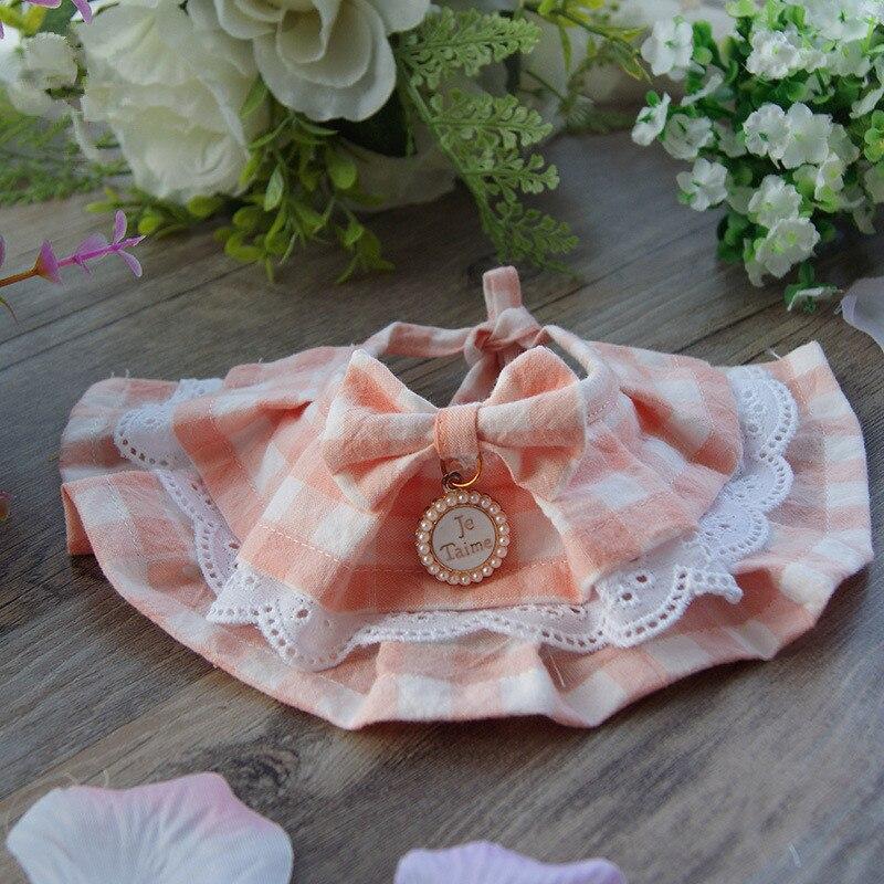 Pet dogs drool towel Teddy sweet Princess Scarf Bib handmade Adjustable Pink Color Pet Flower Lace Bib Pet Necklace and Collar