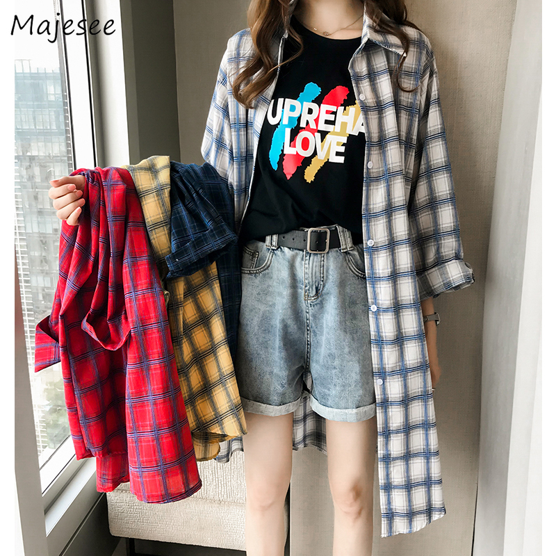 Shirts Women Long Classic Plaid Simple Loose 4XL Korean Style All-match Casual Daily Womens Shirt Sweet Girls Student Fashion