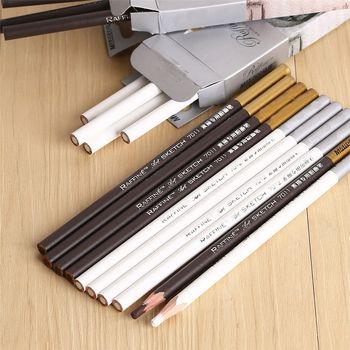 1pc Brown White Sketch Pencil Professional Panting Drawing Pencil Chalk Non-toxic Base Pastel Art Highlight Sketch Charcoal Pen 1