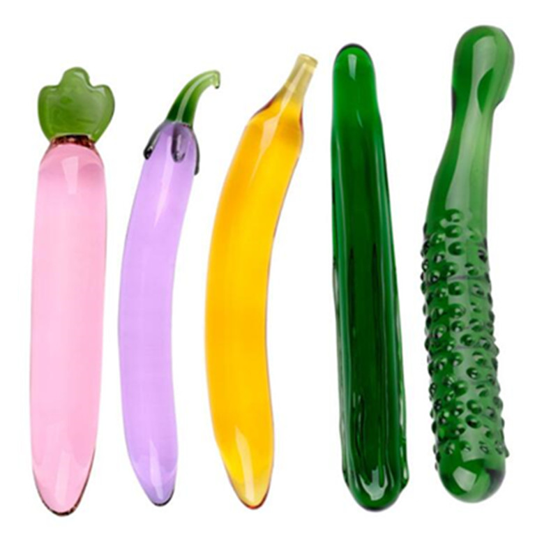 Pyrex <font><b>Glass</b></font> <font><b>Dildo</b></font> Artificial Penis Realistic <font><b>Dildos</b></font> For Women Fruit Vegetable Shape Female Masturbation Device <font><b>Anal</b></font> Plug <font><b>Sex</b></font> <font><b>Toy</b></font> image
