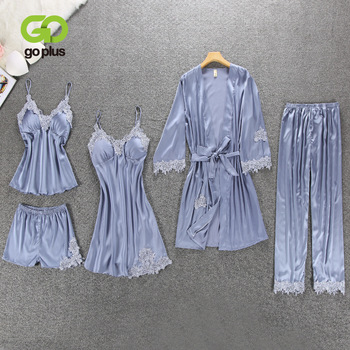 Goplus Sexy Bud Silk Princess Suspender Pajama Five Piece Suit Sexy Thin Home Wear  Pajama Set  for Women халат домашний five wien home five wien home mp002xw0f4sc